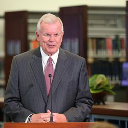 LDS Church Historian and Recorder Elder Steven E. Snow, speaks as the LDS Church, in cooperation with the Community of Christ announces the release of the printers manuscript of the the Book of Mormon, during a press conference Tuesday, Aug. 4, 2015, at the LDS Church's History library in Salt Lake City.