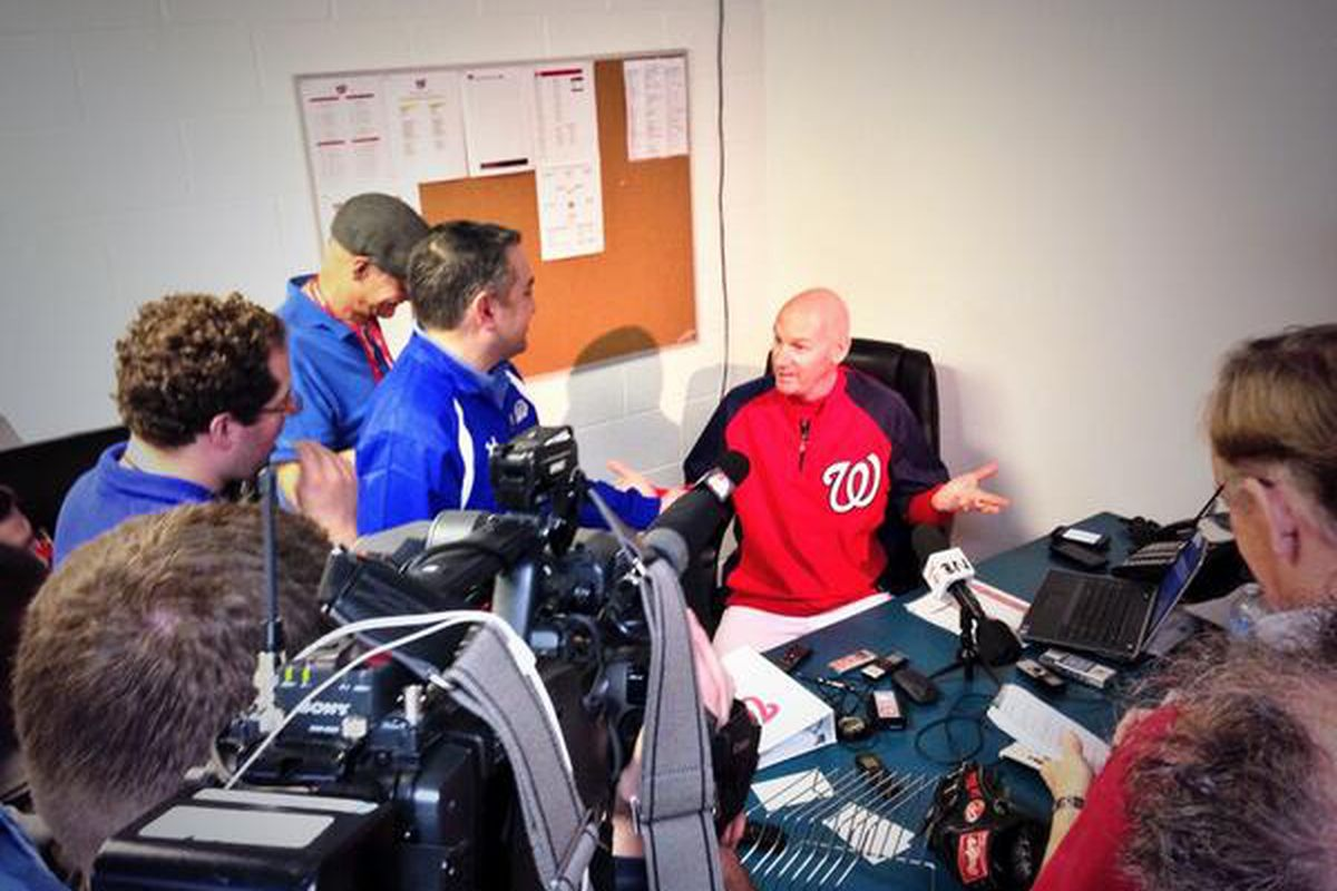Matt Williams meets with reporters in his office following the Nationals' first workouts of the Spring.