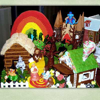 Gingerbread yellow brick road, rainbow, and houses.