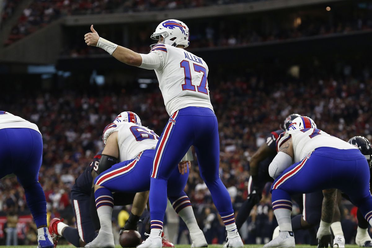 Josh Allen of the Buffalo Bills signals at the line of scrimmage in the first half of the AFC Wild Card Playoff game against the Houston Texans at NRG Stadium on January 04, 2020 in Houston, Texas.