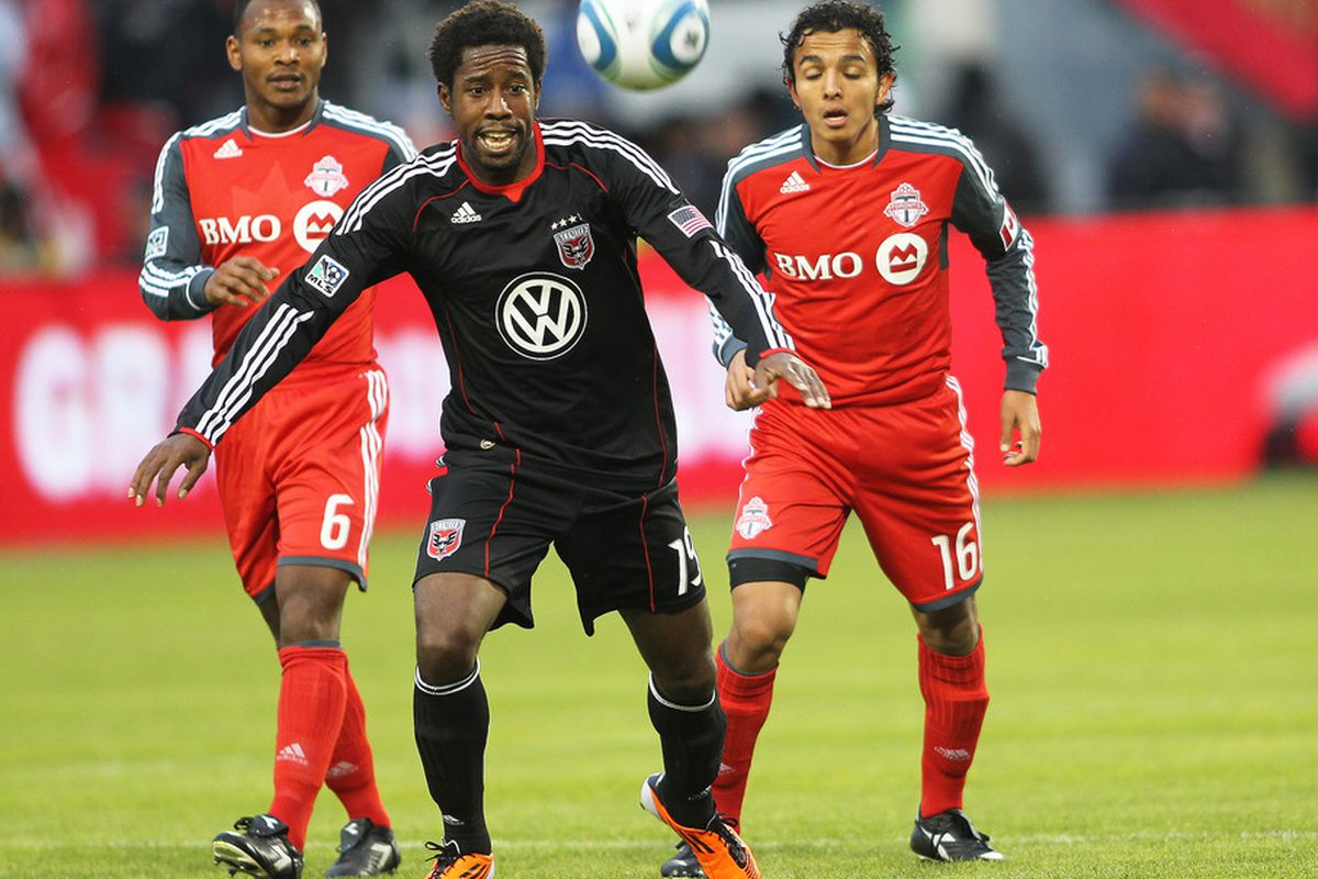 TORONTO, CANADA - APRIL 16:  Clyde Simms #19 of D.C. United chases after the ball in a game against Toronto FC on April 16, 2011 at BMO Field in Toronto, Canada. (Photo by Claus Andersen/Getty Images)