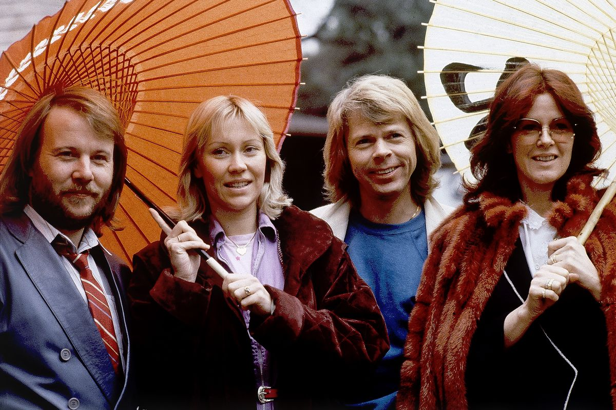 """Members of the pop group ABBA: Benny Andersson (from left),  Agnetha Foltskog, Bjorn Ulvaeus and Anni-Frid Lyngstad, are photoraphed in Tokyo on March 14, 1980. The group is releasing its first new music in four decades, along with a concert performance that will see the """"Dancing Queen"""" quartet going entirely digital."""