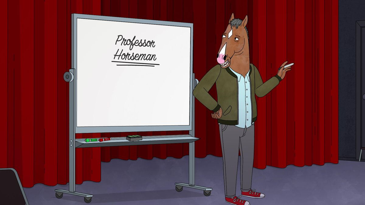 """bojack in front of a white board with the words """"professor bojack"""" written on it"""