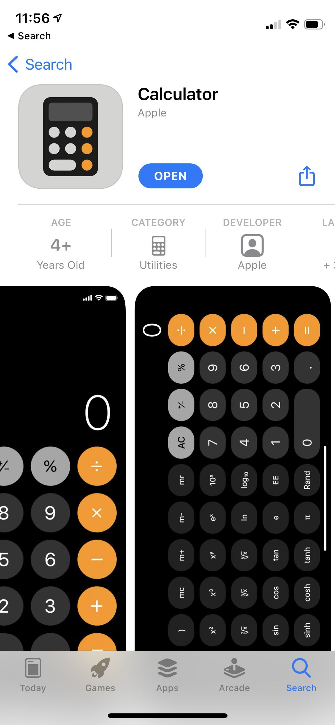 Screenshot of the App Store page for Apple's Calculator app