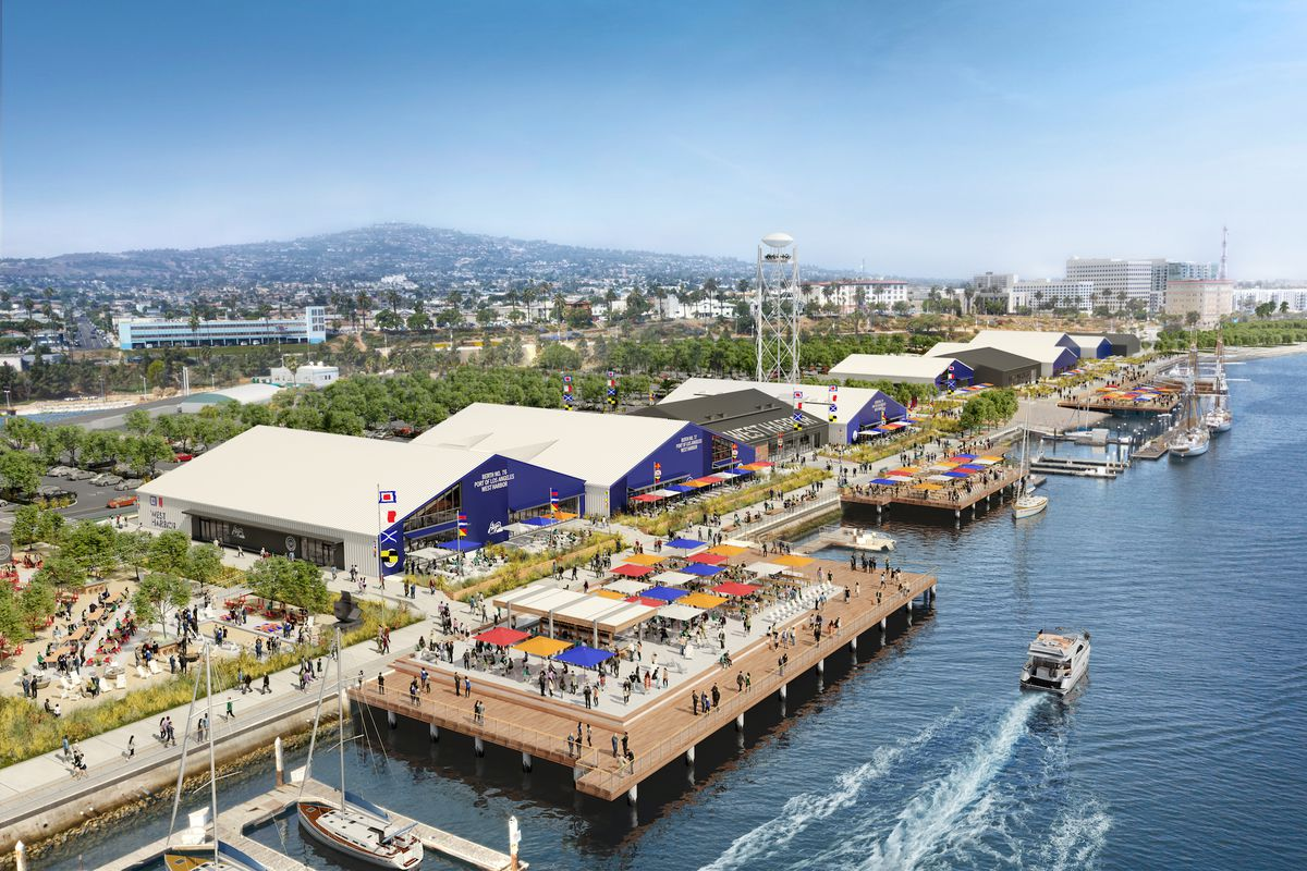 A rendering for an upcoming waterfront development complete with large blue buildings and lots of open air space.