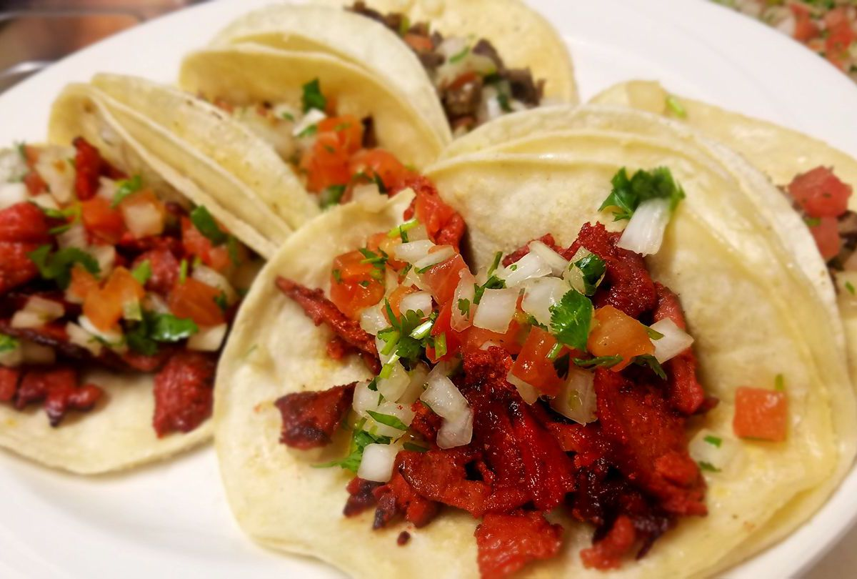 closeup on a plate of tacos