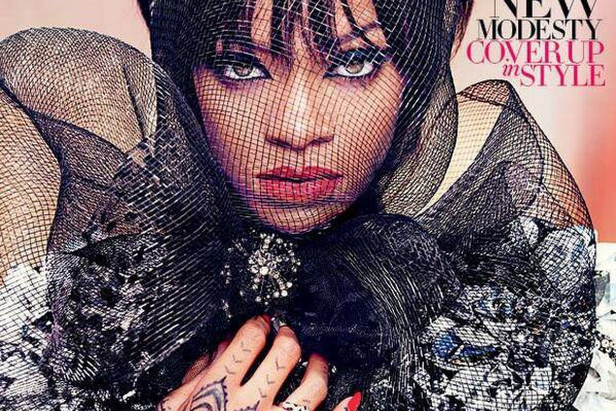 "Rihanna in Harper's Bazaar Arabia's ""Modesty Issue."" Photo <a href=""https://www.facebook.com/HarpersBazaarArabia/"">via</a>."