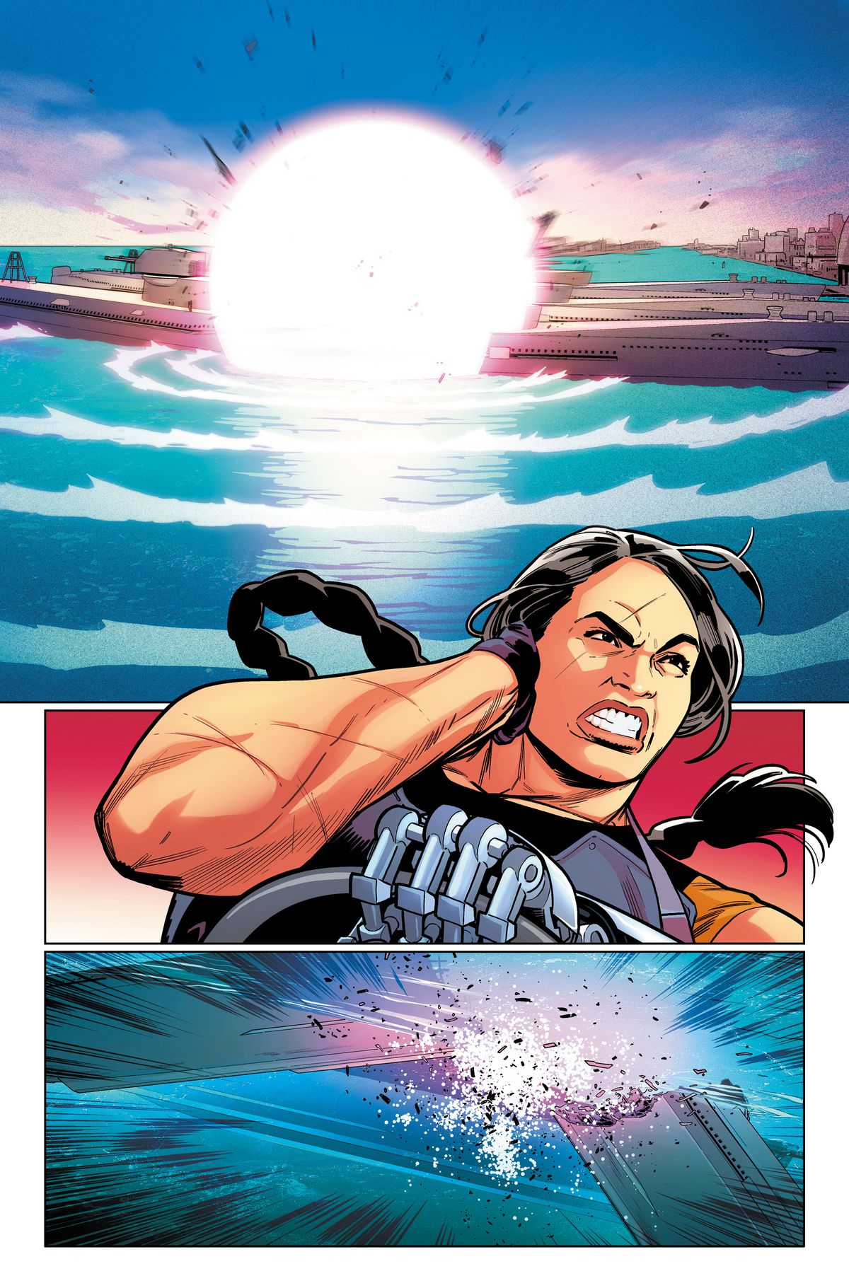 Osita looks on as a massive explosion cracks the submarine in half, in an unlettered page from Suicide Squad #1, DC Comics (2019).