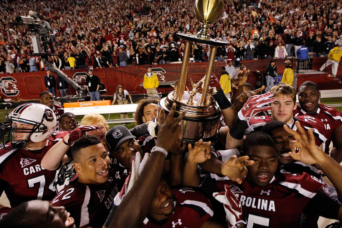 COLUMBIA, SC - NOVEMBER 26:  The South Carolina Gamecocks celebrate after defeating the Clemson Tigers 34-13 at Williams-Brice Stadium on November 26, 2011 in Columbia, South Carolina.  (Photo by Streeter Lecka/Getty Images)
