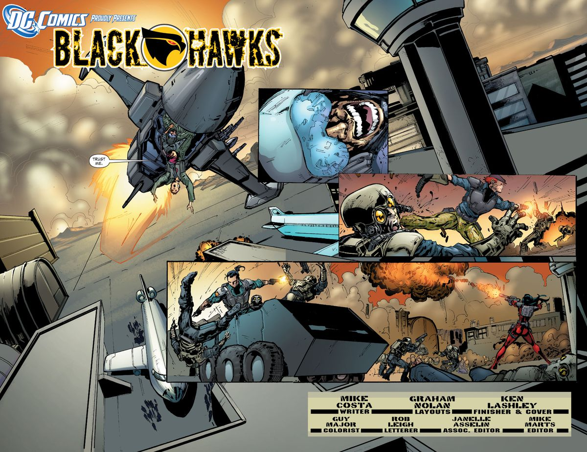 A fighter jet rips across the sky while gun-weilding Blackhawks operatives (with their black on yellow hawk insignias) tear through enemy forces in Blackhawks #1 (2011).