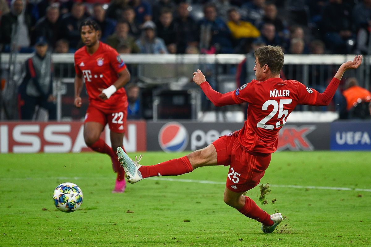 Thomas Mueller from Bayern seen in action during the UEFA...
