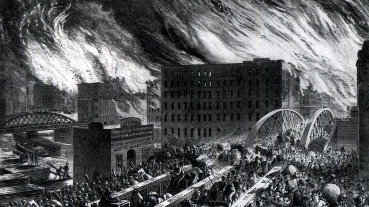 John R. Chapin's engraving of Chicagoans fleeing across the Randolph Street Bridge during the Great Chicago Fire of 1871.
