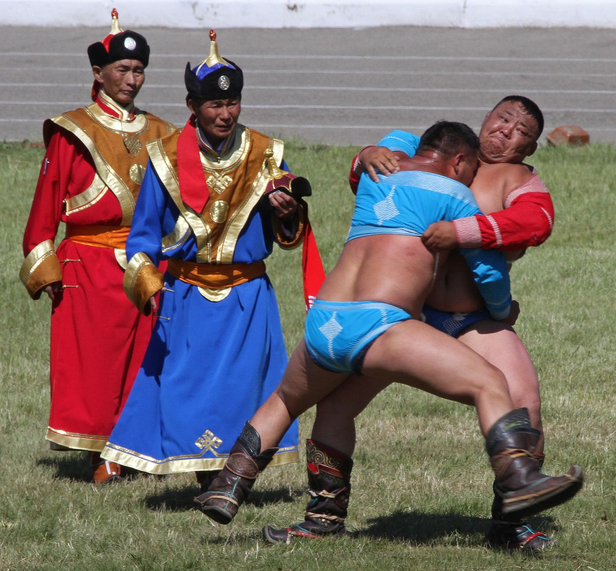Mongolian wrestlers at the Naadham