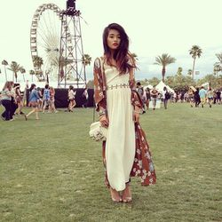 """Olivia Lopez at Coachella in Blessed of the Meek's Gold Was Brought maxi dress. [Photo via <a href=""""http://lusttforlife.com/?p=8596"""">Lust for Life</a>]"""