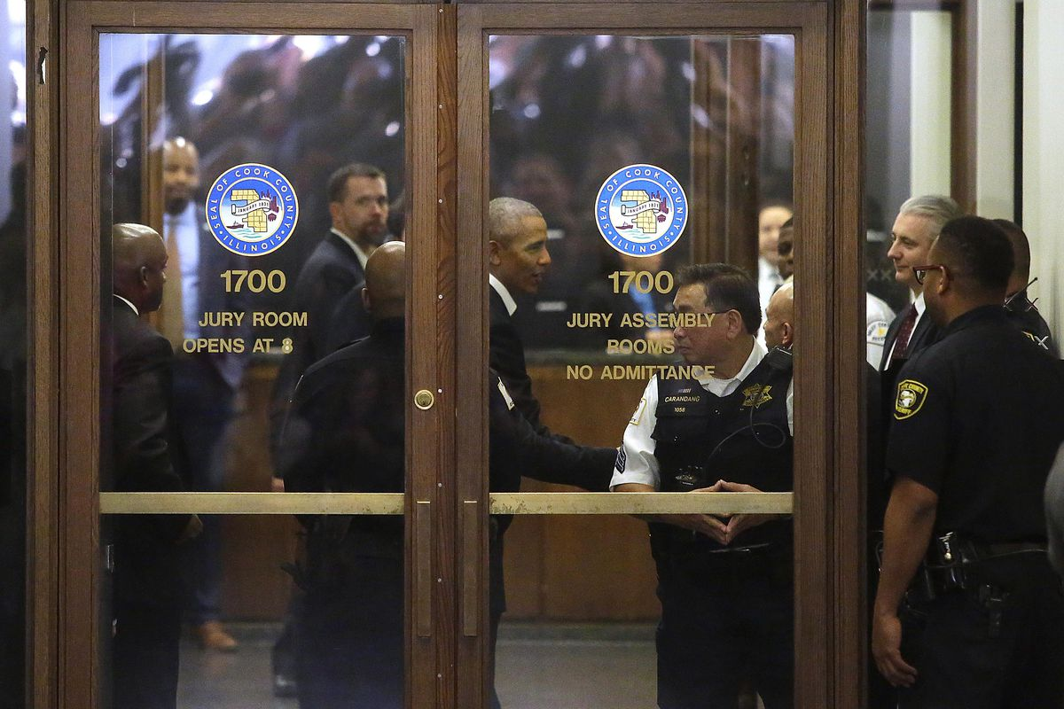 Former President Obama Reports For Jury Duty In Chicago