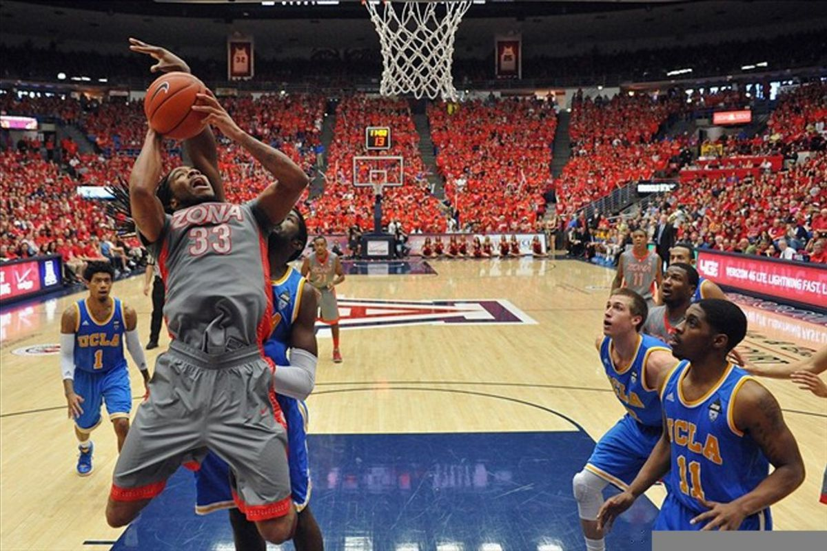 Feb 25, 2012; Tucson, AZ, USA; Arizona Wildcats forward Jesse Perry (33) shoots the ball in the second half of a game against the UCLA Bruins at the McKale Center.  The Wildcats won 65-63.  Mandatory Credit: Chris Morrison-US PRESSWIRE