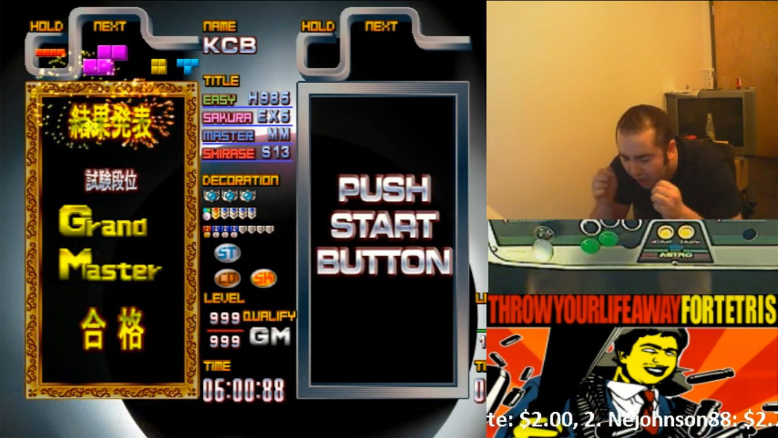 Watch a Tetris master achieve the highest rank in the game after 8