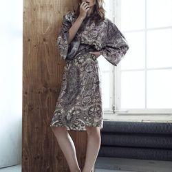 Kimono dress, $69.95, embellished mules, $149