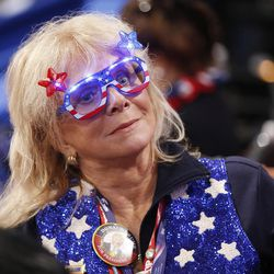 California delegate Sharon Carter watches during the final night of the National Republican Convention in Cleveland on Thursday, July 21, 2016.