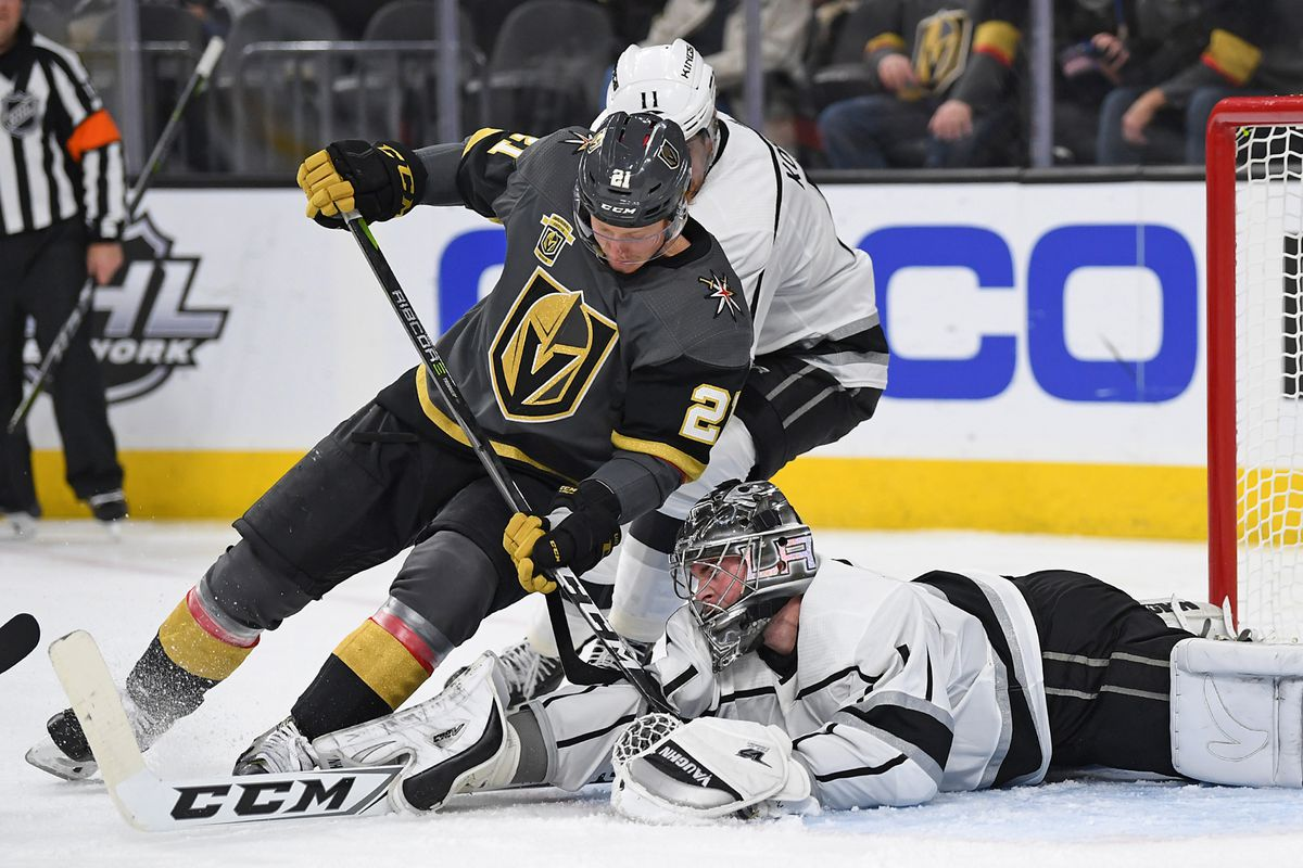 Feb 27, 2018; Las Vegas, NV, USA; Los Angeles Kings goaltender Jack Campbell (1) makes a save against Vegas Golden Knights center Cody Eakin (21) during the second period at T-Mobile Arena.