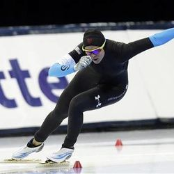 United States' Brittany Bowe competes in the women's 500-meters race at the U.S. Olympic speedskating trials Saturday, Dec. 28, 2013, in Kearns, Utah.  (AP Photo/Rick Bowmer)