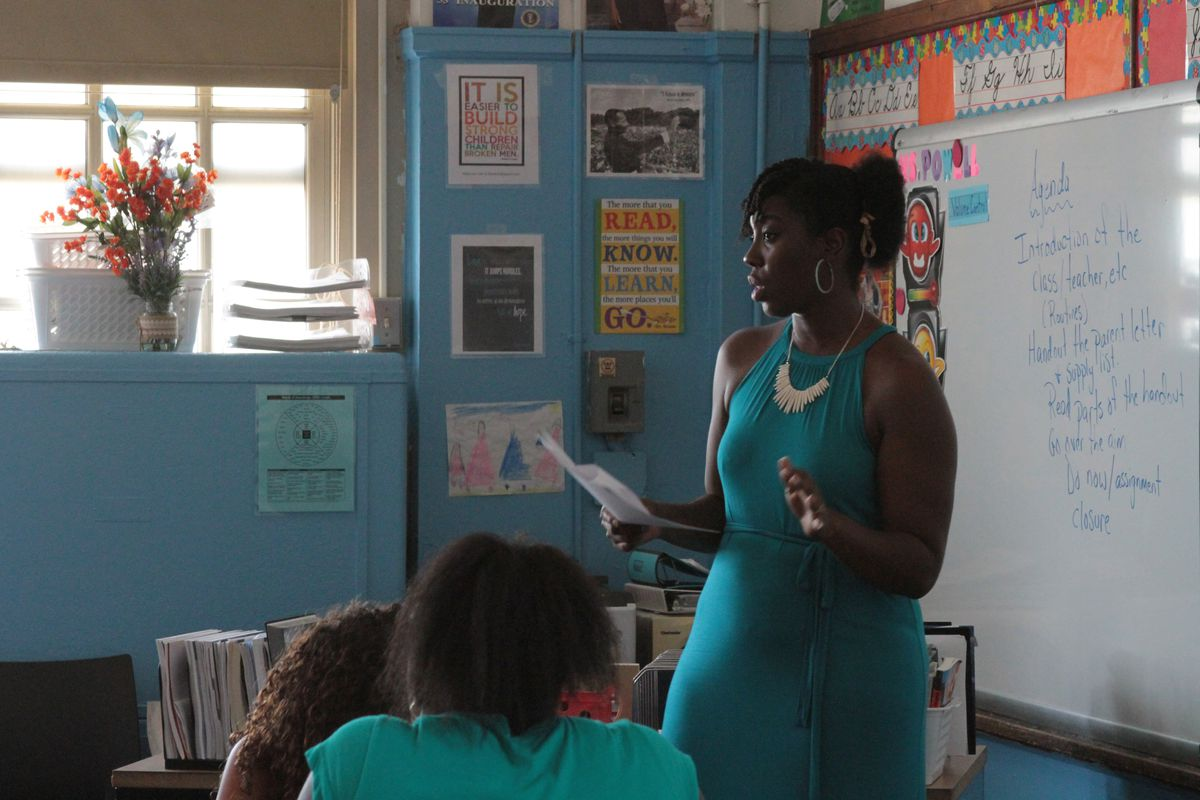Shamika Powell teaches her seventh-grade English class on the first day of school at School of Diplomacy in the Bronx.