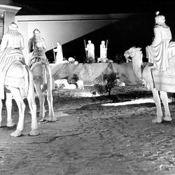 Three wise men are displayed on Temple Square grounds on Dec. 22, 1965, the first year of Temple Square lighting.