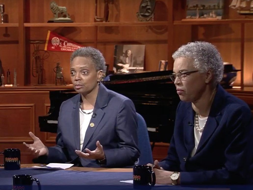 Mayoral candidates Lori Lightfoot, left, and Toni Preckwinkle, right, spar Thursday night on WTTW-Channel 11. Screen image.