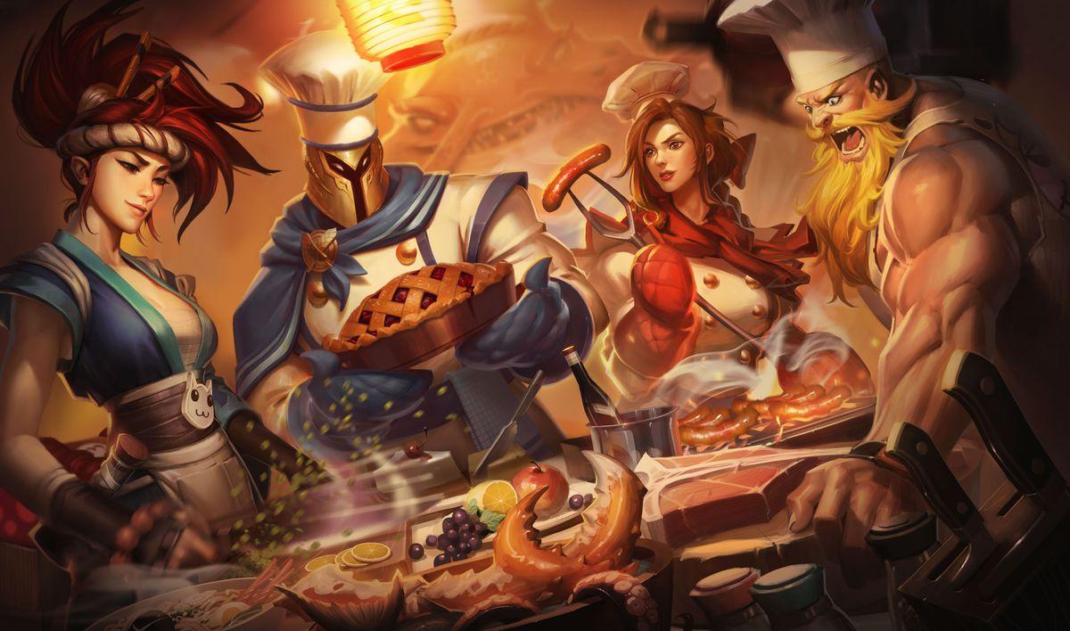 Baker Pantheon shows off a pie alongside Sashimi Akali, Barbeque Leona, and Butcher Olaf