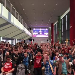 Members of the University of Utah's Crimson Gaming club at a League of Legends competition versus BYU last fall.