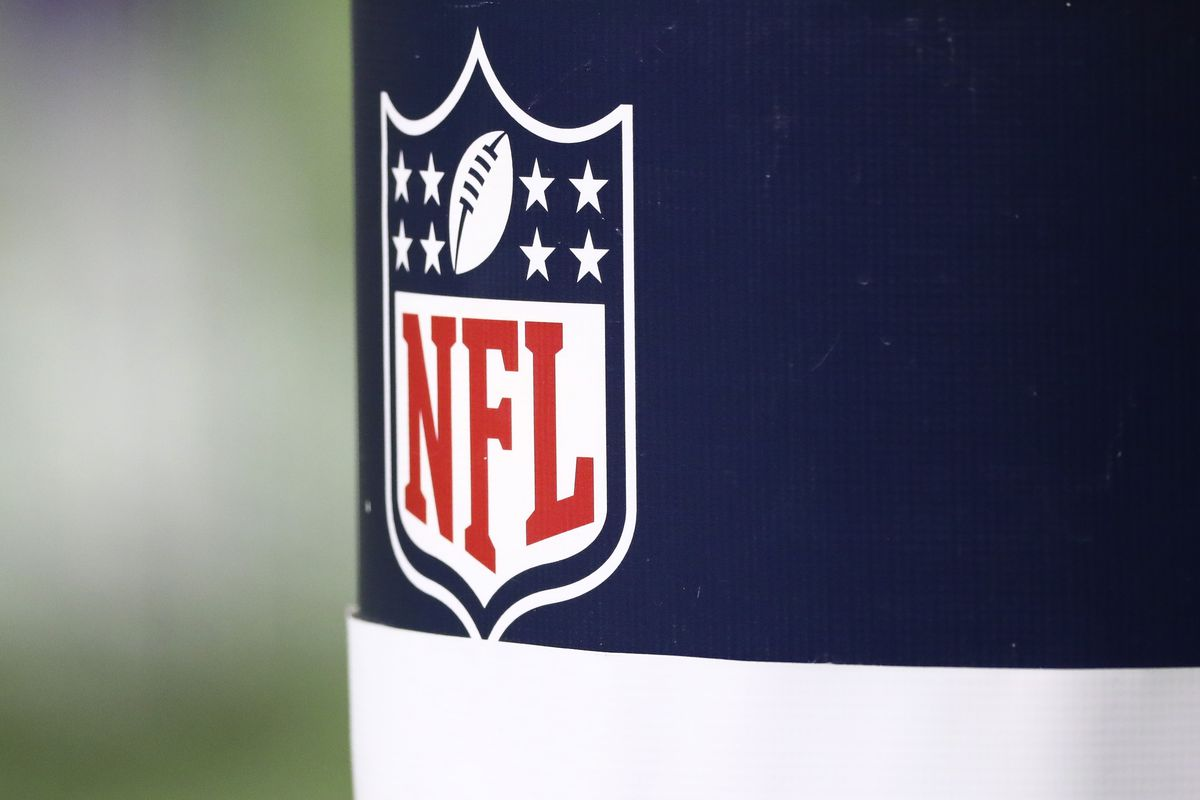 A logo for the NFL is seen during a game between the New England Patriots and the Buffalo Bills at Gillette Stadium on December 28, 2020 in Foxborough, Massachusetts.