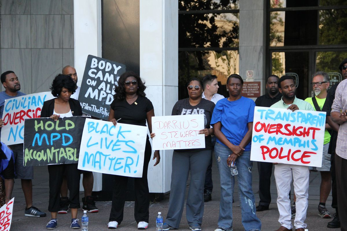 Memphians and family members of Darrius Stewart, a black 19-year-old who was  killed by a police officer in 2015, attended a Black Lives Matter protest in his honor.
