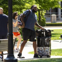 Chicago Bears' offensive tackle Rashaad Coward #69 arrives for training camp at Olivet Nazarene University in Bourbonnais, Thursday afternoon, July 25, 2019.