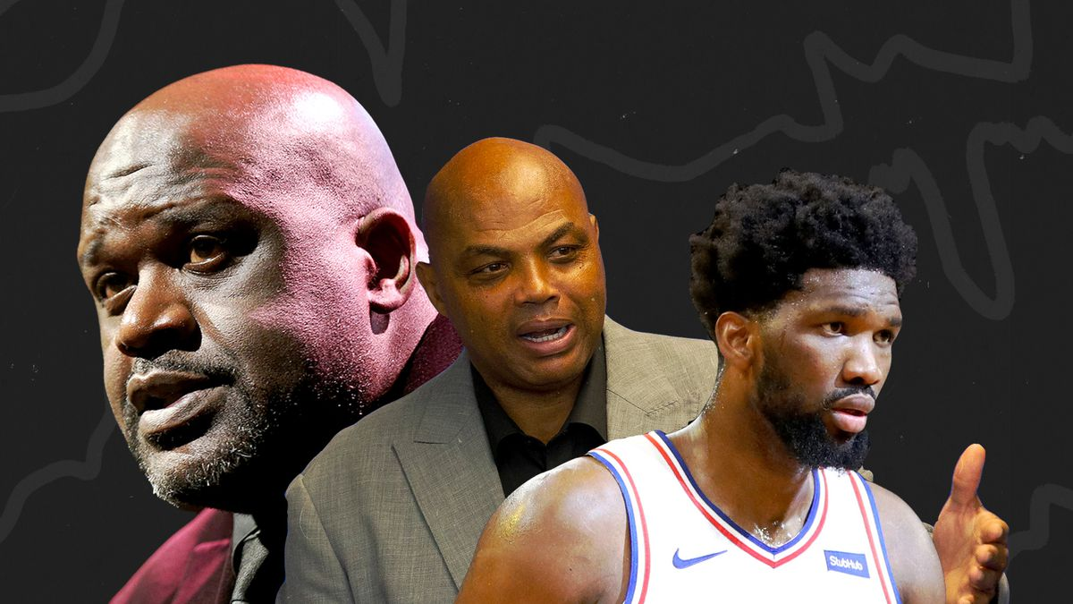 Shaq, Charles Barkley, and Joel Embiid in a collage.