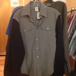 Colorblocked flannel oxford, $59
