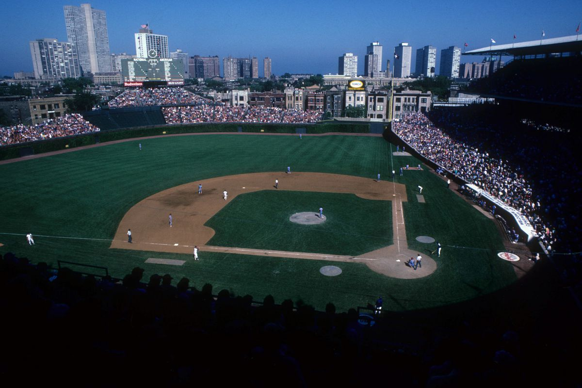 CHICAGO, IL - 1980's: General view as the Chicago Cubs take on the Philadelphia Phillies circa 1980's at Wrigley Field in Chicago, Illinois. (Photo by Jonathan Daniel/Getty Images)