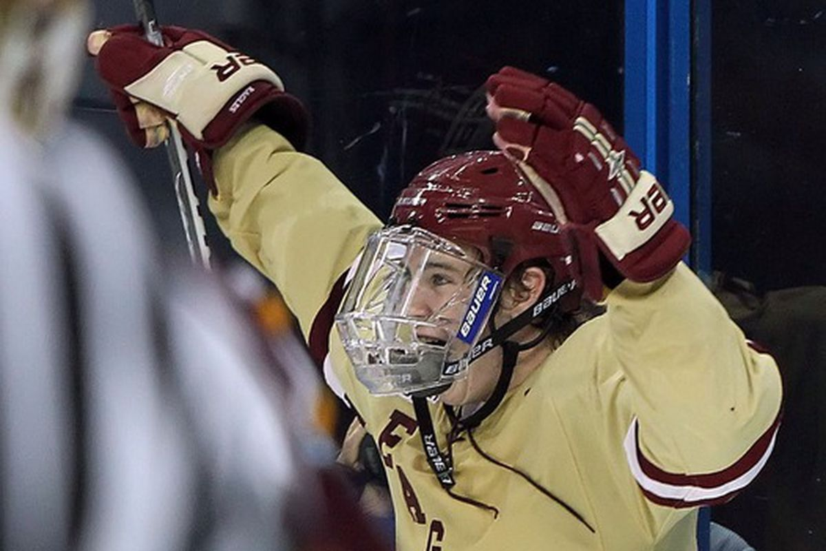 Boston College senior Kevin Hayes had a goal and two assists on Sunday in an exhibition victory over St. Francis Xavier.