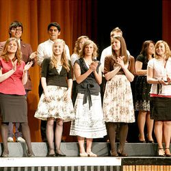 Finalists in the visual arts category take the stage at Cottonwood High School during the Sterling Scholar awards ceremony on Wednesday night.