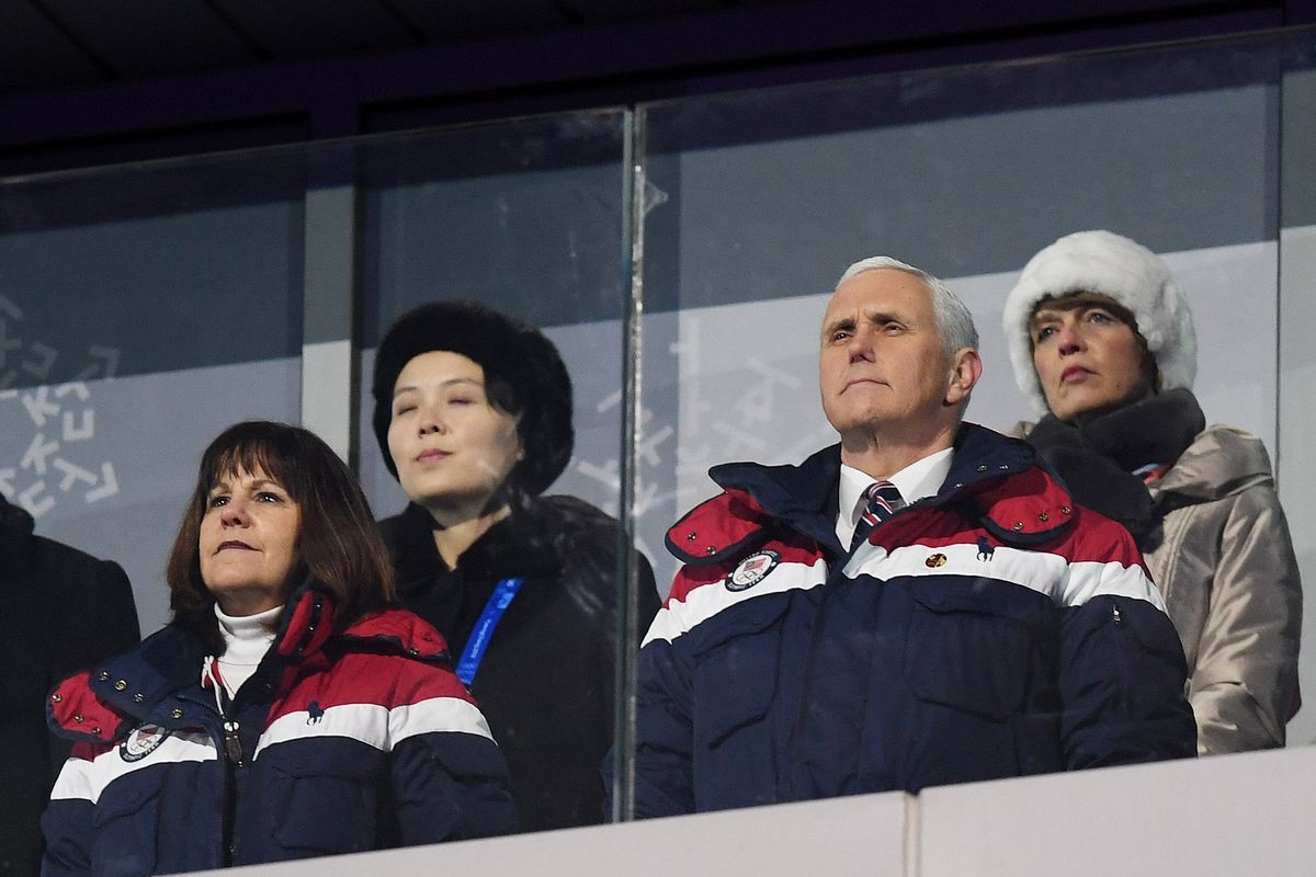 Vice President Mike Pence and North Korean leader Kim Jong Un's sister Kim  Yo Jong (back left) at the opening ceremony of the Pyeongchang Games.