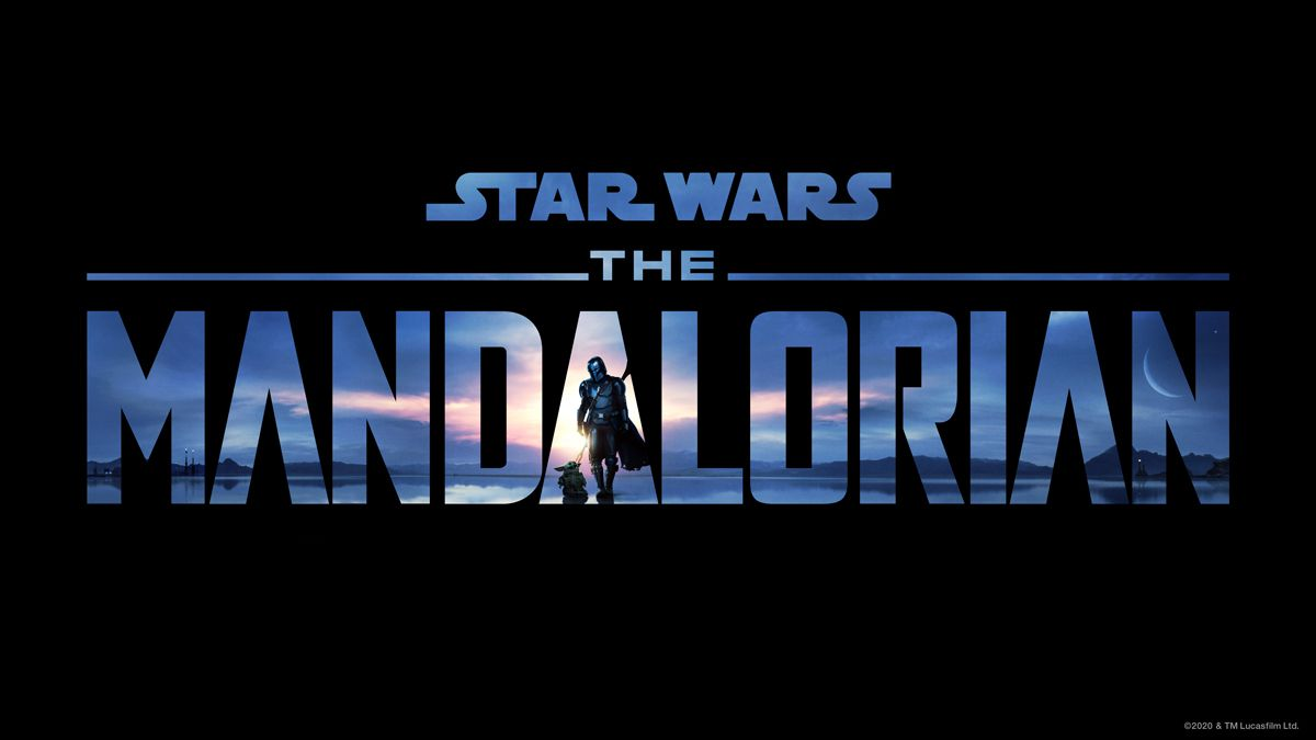 The Mandalorian season 2 title treatment with Mando and Baby Yoda walking
