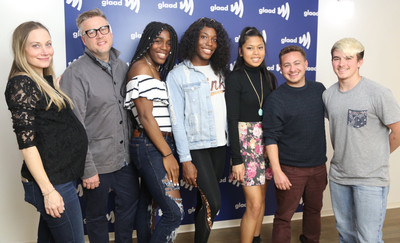 """From left to right, """"Changing the Game"""" producer Clare Tucker, director Michael Barnett, runners Andraya Yearwood and Terry Miller, skier Sarah Rose Huckman, executive producer Alex Schmider, wrestler Mack Beggs."""