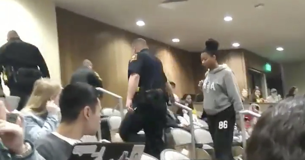 A professor called police on a black student for putting her feet up in class
