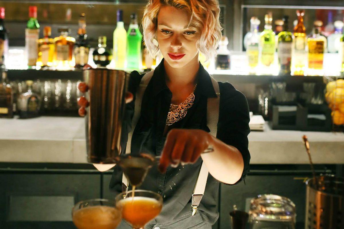 Bartender Frederique Leblanc mixes cocktails at SpiritHouse