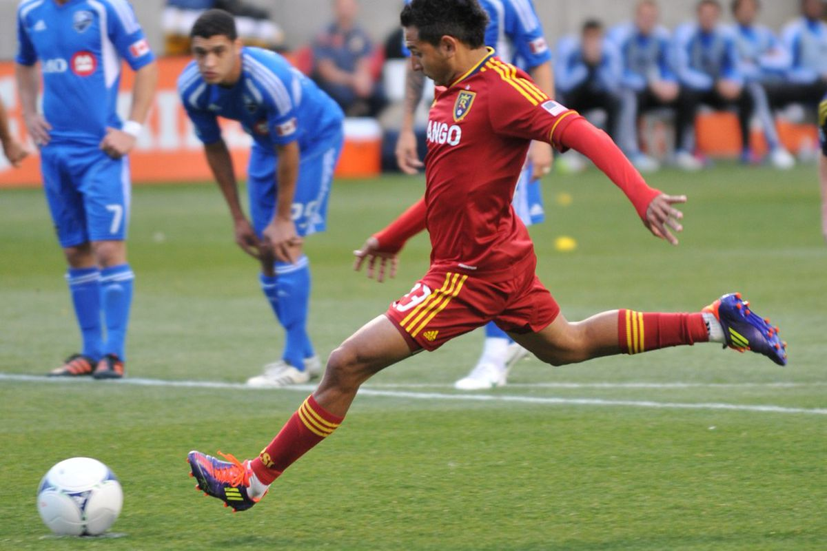 Real Salt Lake's Paulo Jr. takes a first half PK shot and scores the only goal in RSL's 1-0 win over the Montreal Impact on Wednesday night at Rio Tinto Stadium. (photo by me)