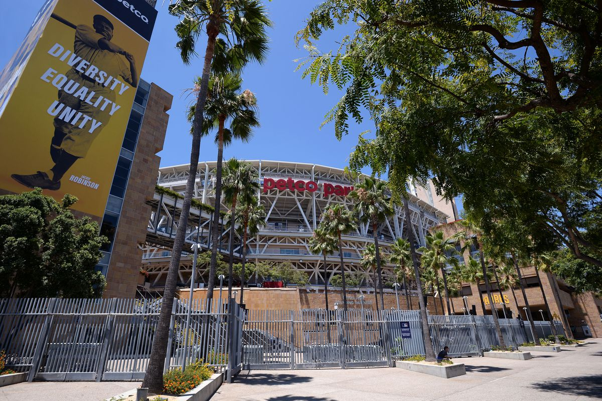 An outside shot of Petco Park, with Palm trees in the foreground framing the Petco Park logo