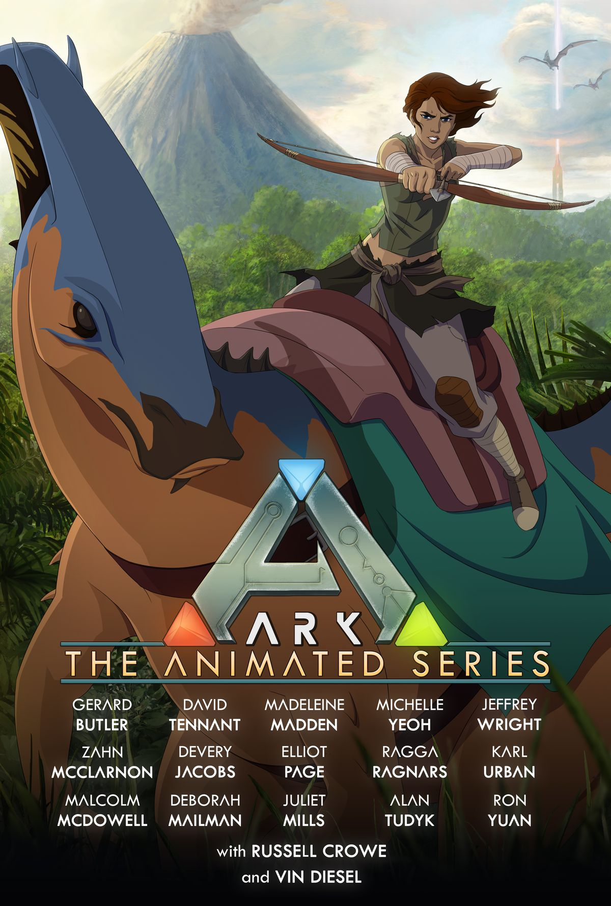 The poster for Ark: The Animated Series features a young woman with a bow riding a duck-billed dinosaur.