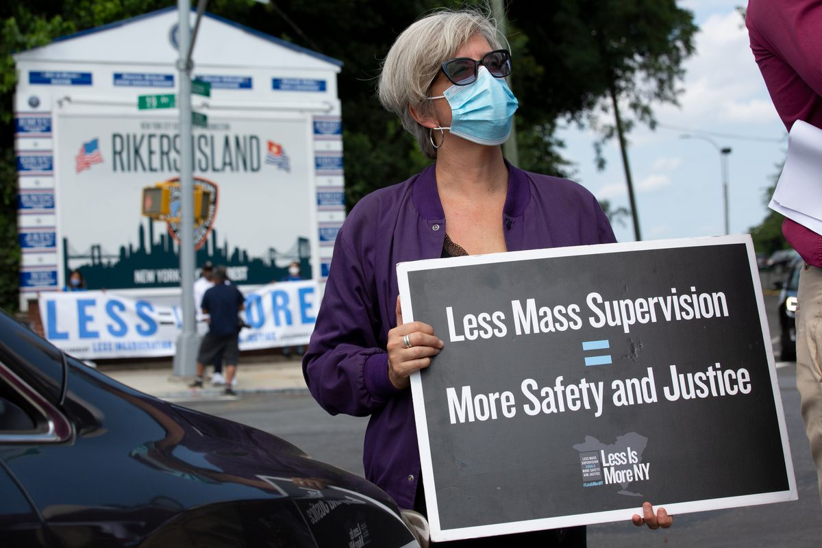 Jail reform advocates promoted decarceration during a rally outside Rikers Island, Sept. 13, 2021.