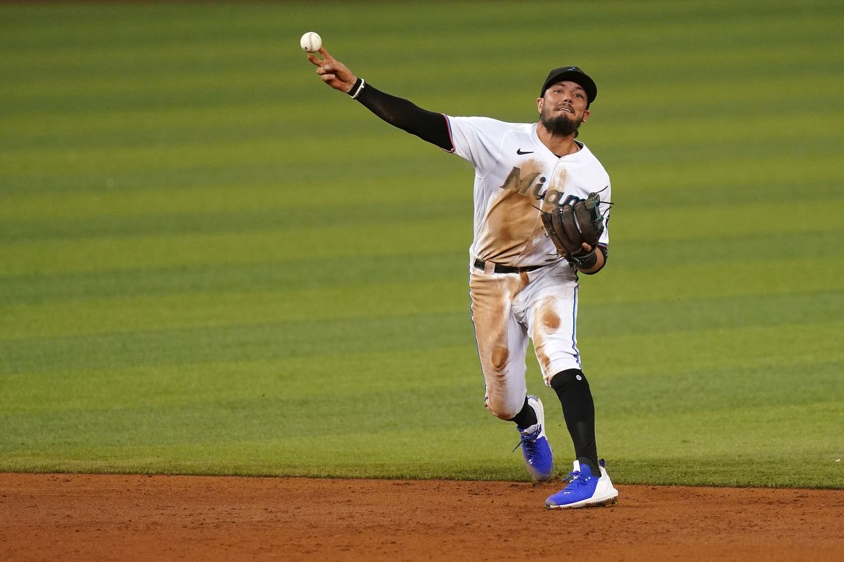Miami Marlins shortstop Miguel Rojas (19) throws out Philadelphia Phillies third baseman Alec Bohm (28, not pictured) in the 3rd inning at loanDepot park