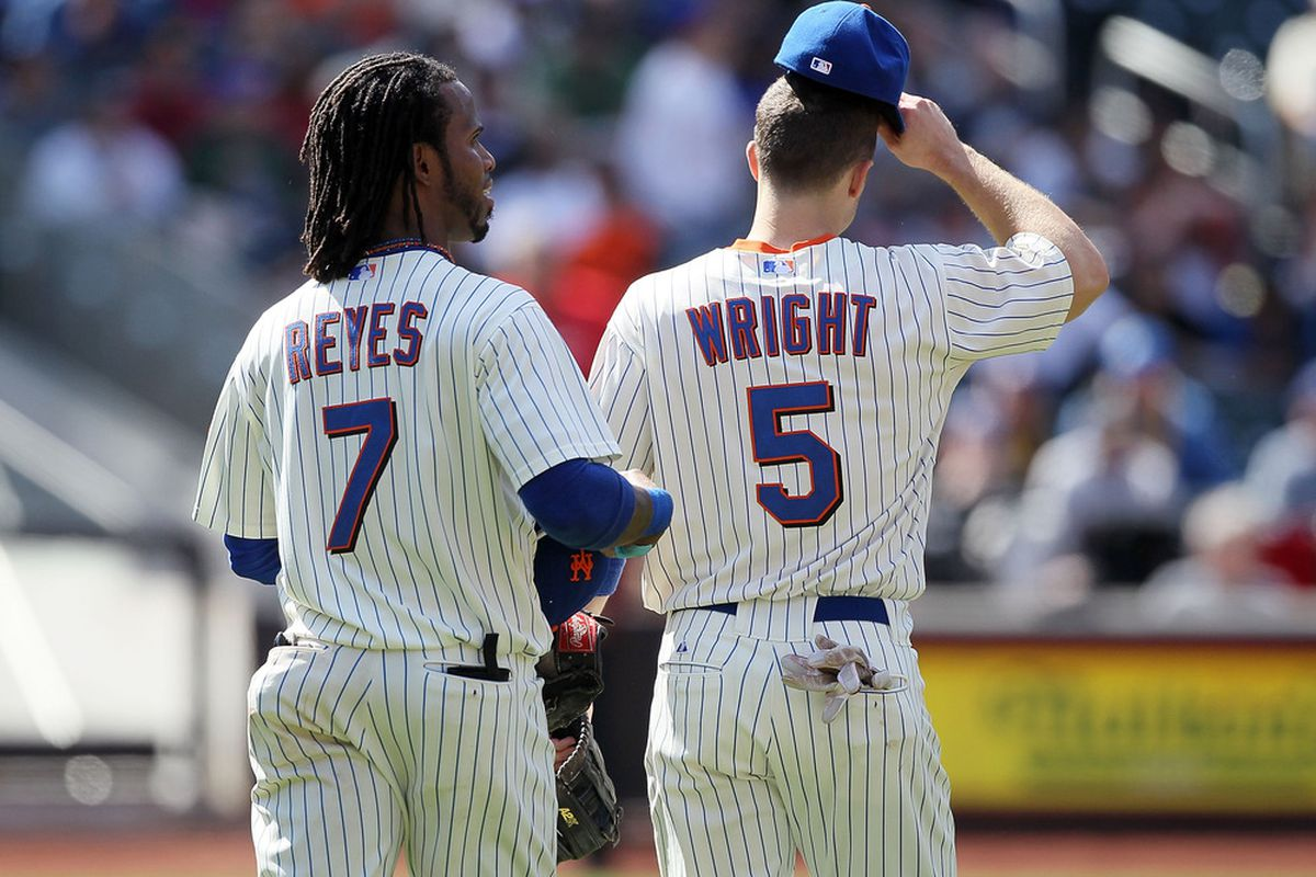 New York Mets quarter-mark review. Jose Reyes and David Wright shown in a game versus the San Francisco Giants earlier this season.  (Photo by Jim McIsaac/Getty Images)