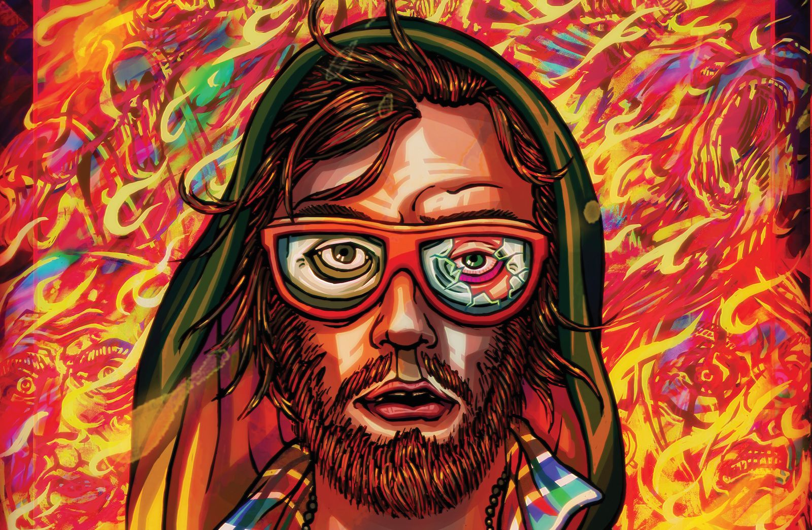 artwork from Hotline Miami 2 of a bearded man wearing glasses with red frames on a fiery background